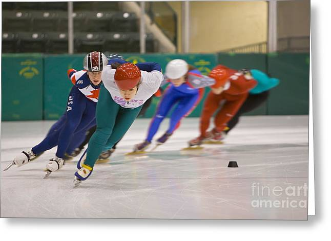 Speed Skaters Greeting Card