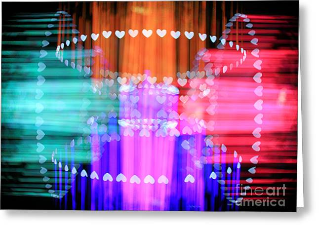 Speeding Hearts Abstract Colorful Light Trails Greeting Card by Beverly Claire Kaiya