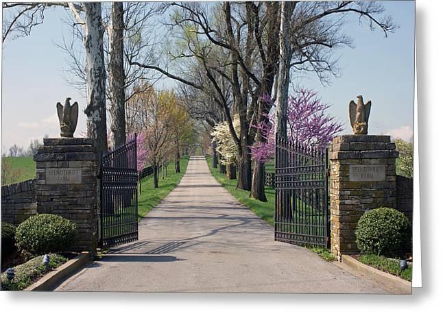 Spendthrift Farm Entrance Greeting Card by Roger Potts