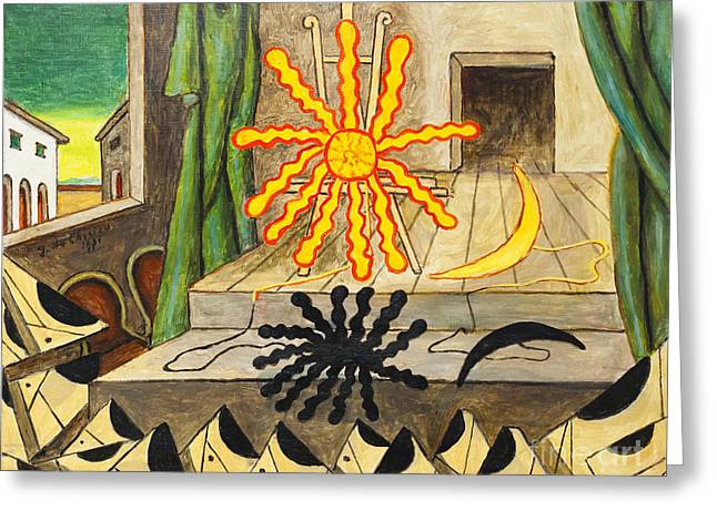 Spettacolo Misterioso By Giorgio De Chirico Greeting Card by Roberto Morgenthaler