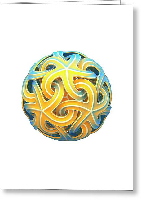 Sphere Of Interlocking Geometries Greeting Card by David Parker