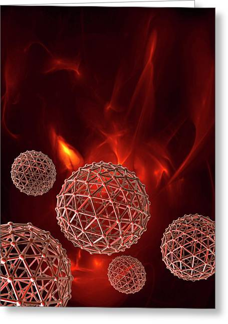 Spheres On Red Background Greeting Card by Victor Habbick Visions