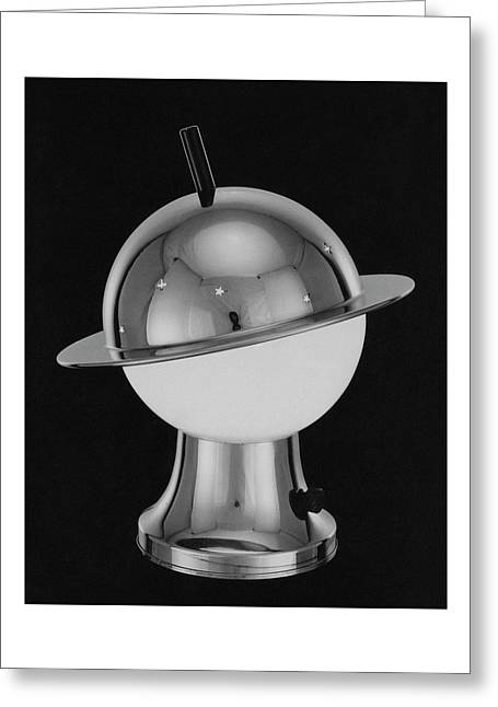 Spherical Lamp With Chromium Base Greeting Card