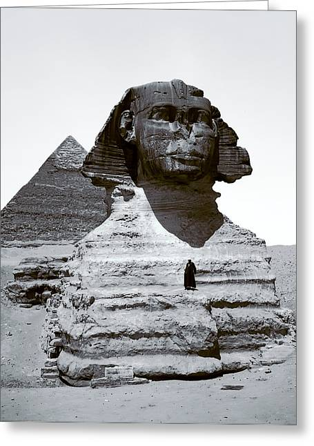 Sphinx And Giza Pyramid - 1900 Greeting Card by Daniel Hagerman