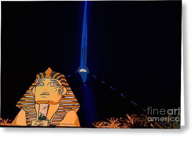 Sphinx And Luxor Hotel Beam Las Vegas - Pop Art Style Greeting Card
