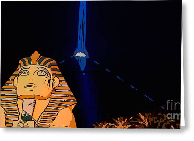 Sphinx And Luxor Hotel Beam Las Vegas - Pop Art Style - Panorami Greeting Card