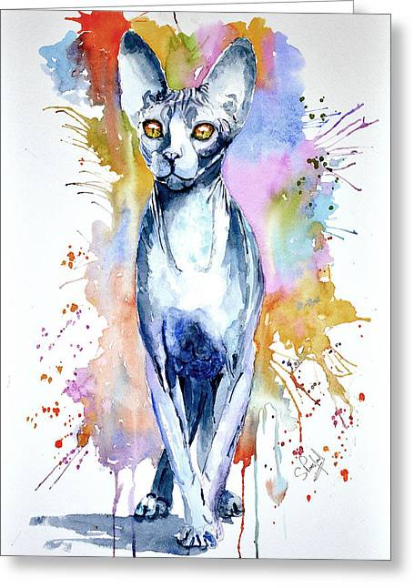 Sphinx Cat Greeting Card by Steven Ponsford