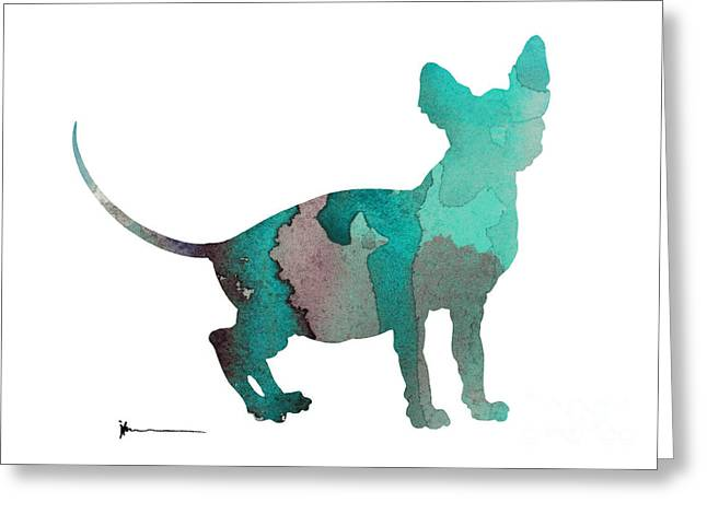 Sphynx Cat Silhouette Art Print Greeting Card by Joanna Szmerdt