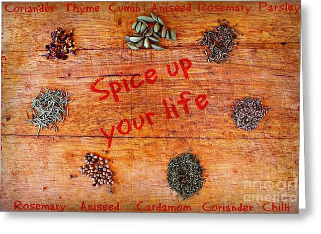 Spice Up Your Life Greeting Card by Clare Bevan