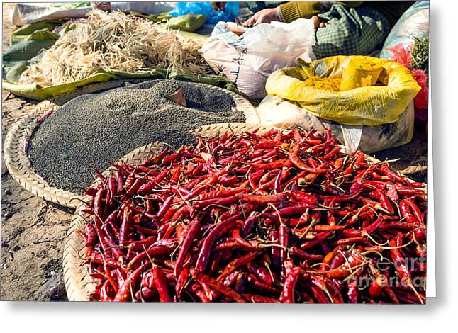 Spices At Local Market - Myanmar Greeting Card by Matteo Colombo