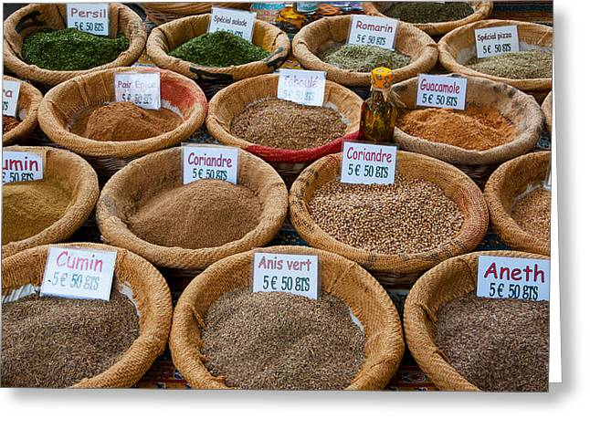 Spices For Sale In A Weekly Market Greeting Card by Panoramic Images
