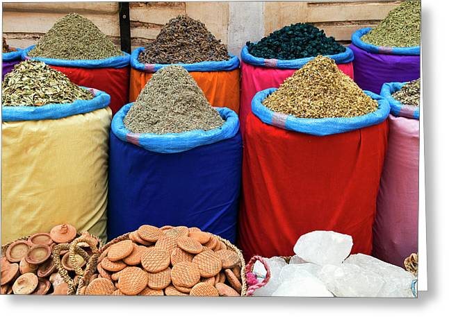 Spices For Sale, Souk In The Medina Greeting Card by Nico Tondini