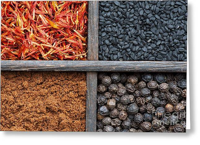 Spices Of India Pattern Greeting Card by Tim Gainey