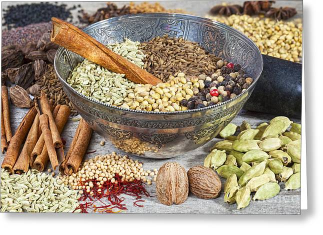 Spices On A Rustic Board Greeting Card