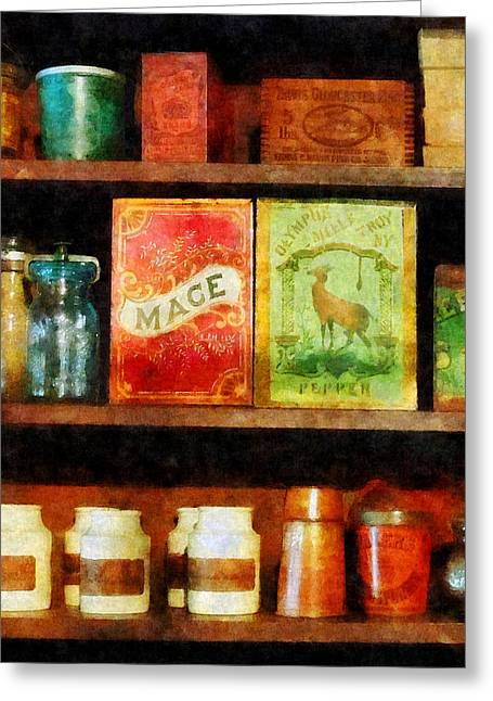 Spices On Shelf Greeting Card