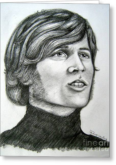 Greeting Card featuring the drawing  A Young Barry Gibb by Patrice Torrillo
