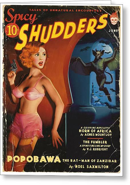 Spicy Shudders Greeting Card by Alex Tomlinson