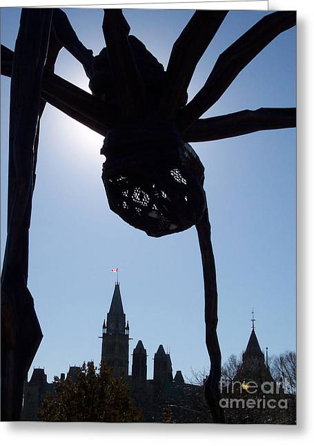 Spider Attacks Parliament Greeting Card by First Star Art