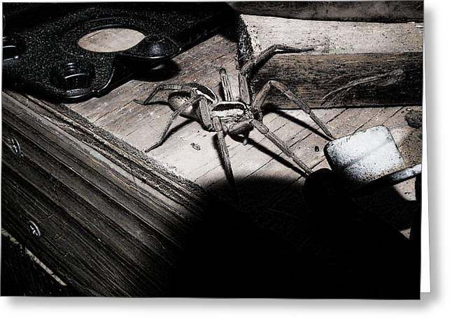 Greeting Card featuring the digital art Spider B And W by Robert Rhoads