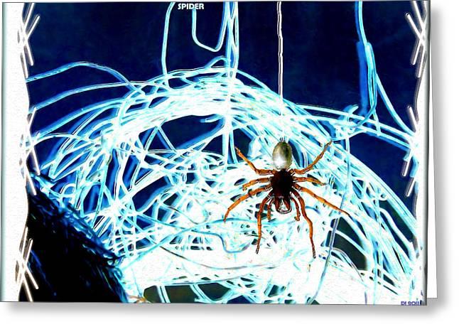 Greeting Card featuring the digital art Spider by Daniel Janda