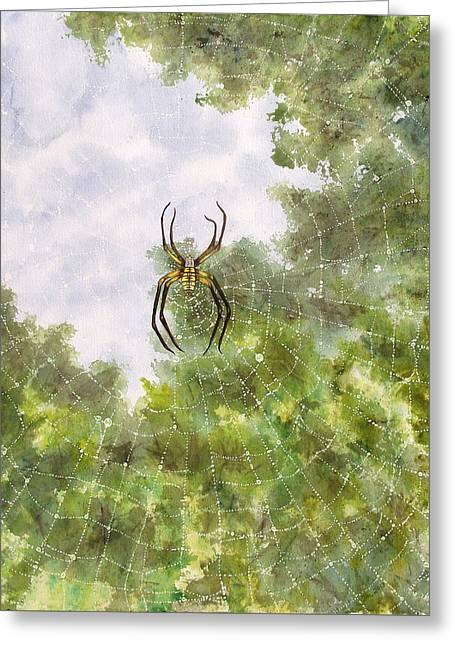 Spider In Web #2 Greeting Card