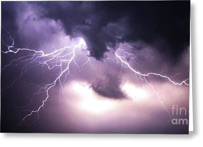Spider Lightening Greeting Card by Angela Wright