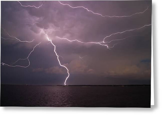 Spider Lightning Over Charleston Harbor Greeting Card