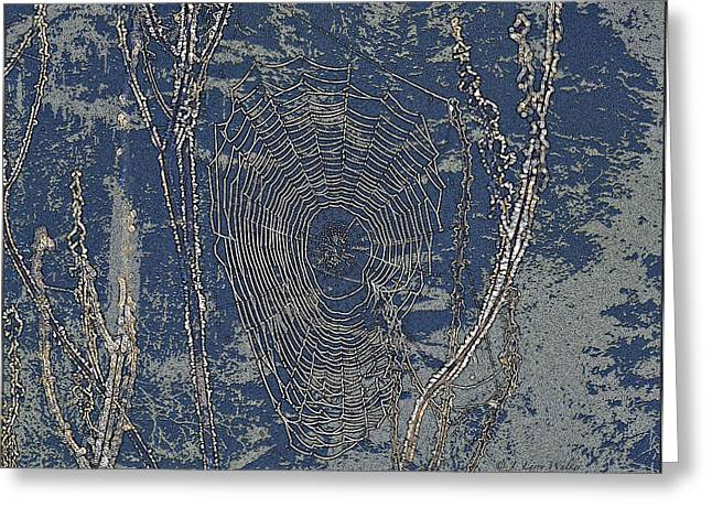 Spider Night Web Greeting Card by J Larry Walker