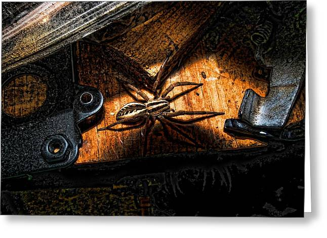 Greeting Card featuring the digital art Spider Of The Midnight Lite by Robert Rhoads