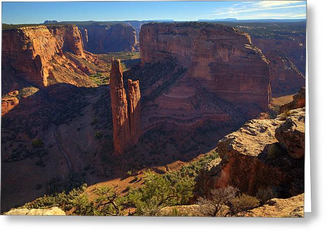 Greeting Card featuring the photograph Spider Rock Sunrise by Alan Vance Ley