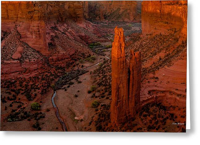 Spider Rock Sunset Greeting Card by Tim Bryan