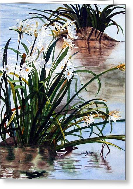 Spiderlilies On The Catawba Greeting Card
