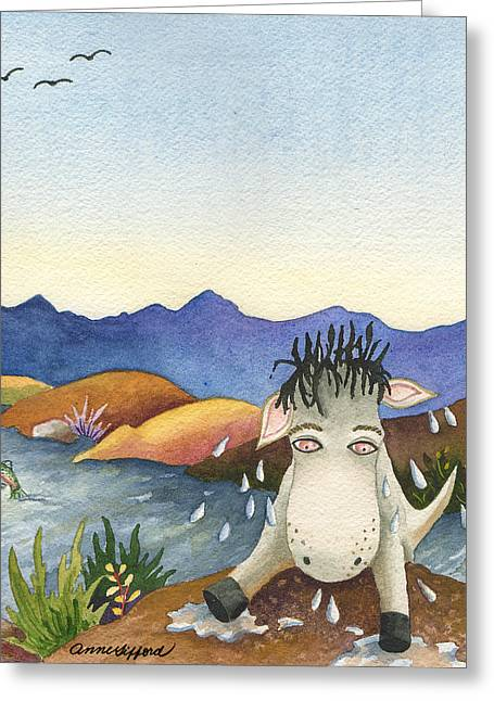 Spike Isn't Much Of A Swimmer Greeting Card by Anne Gifford