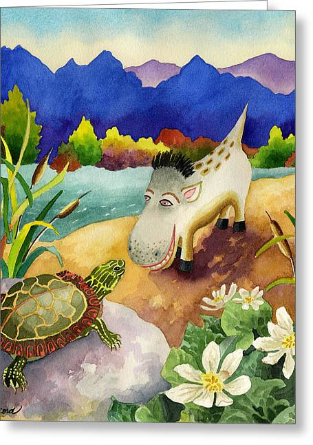 Spike The Dhog Comes Nose To Nose With A Painted Turtle Greeting Card by Anne Gifford