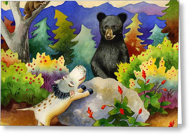Spike The Dhog Encounters A Mother Bear In The Forest Greeting Card by Anne Gifford