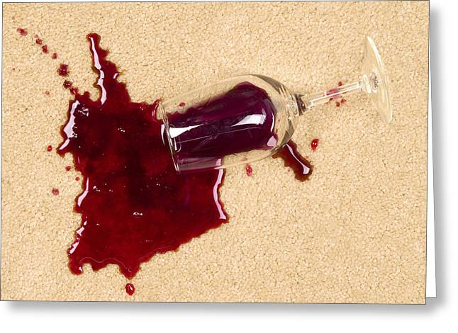 Spilled Wine On Carpet Greeting Card