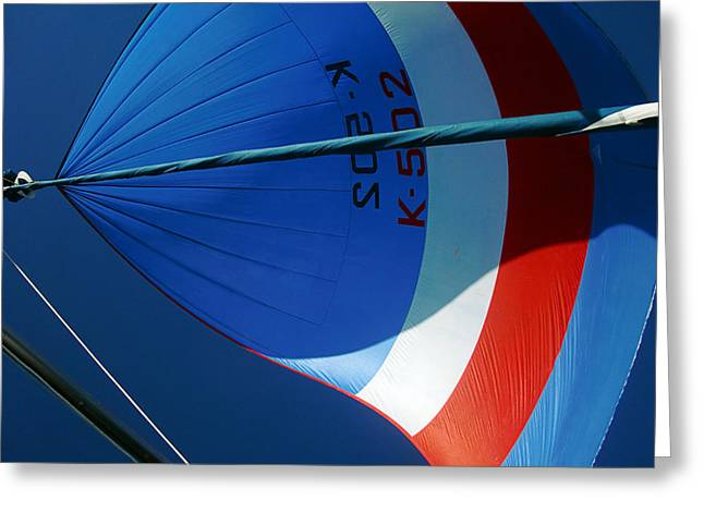 Spinnaker Flying Greeting Card by Tony Reddington