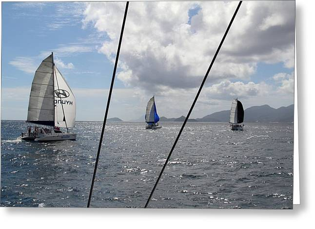 Spinnakers In The Seychelles Greeting Card
