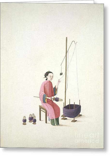 Spinning Silk, 19th-century China Greeting Card by British Library