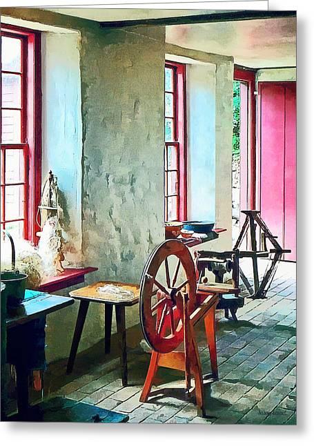 Spinning Wheel Near Window Greeting Card by Susan Savad
