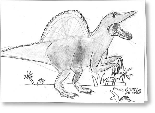 Greeting Card featuring the drawing Spinosaurus On The Hunt by Fred Hanna
