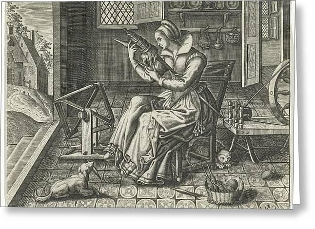 Spinster In An Interior, Jan Van Halbeeck Greeting Card by Jan Van Halbeeck