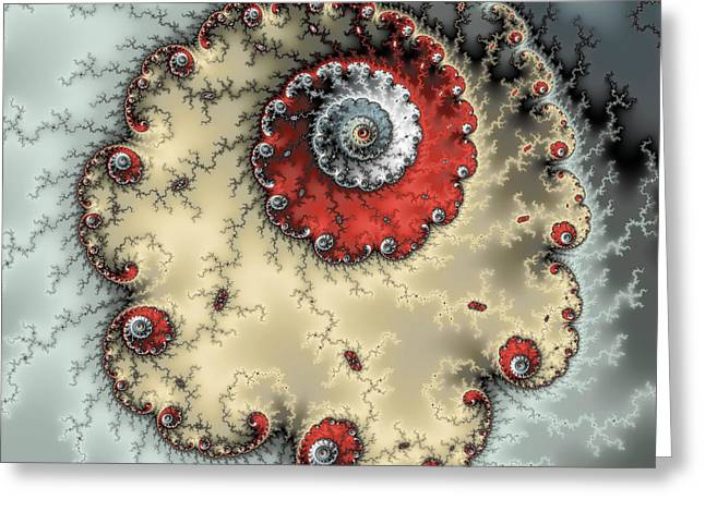 Spiral - Fractal Artwork In Yellow Gray And Red Greeting Card by Matthias Hauser