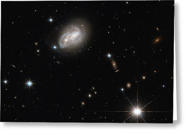 Spiral Galaxies Interacting Greeting Card by Science Source