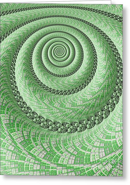 Spiral In Green Greeting Card by John Edwards