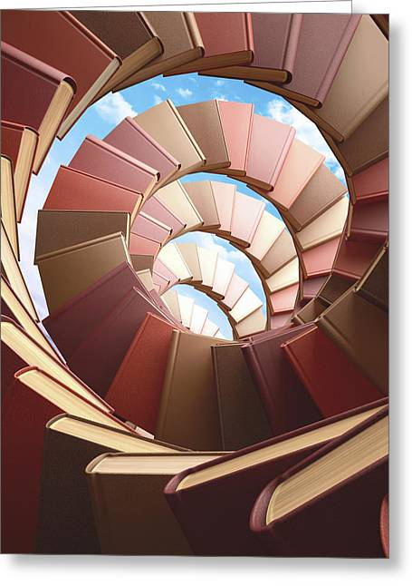 Spiral Of Books Greeting Card