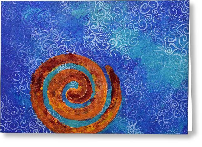 Spiral Series - Waterspiral Greeting Card by Moon Stumpp