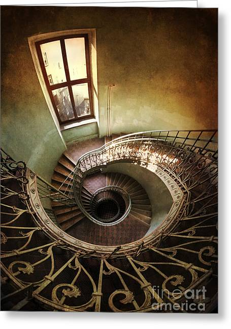 Spiral Staircaise With A Window Greeting Card by Jaroslaw Blaminsky