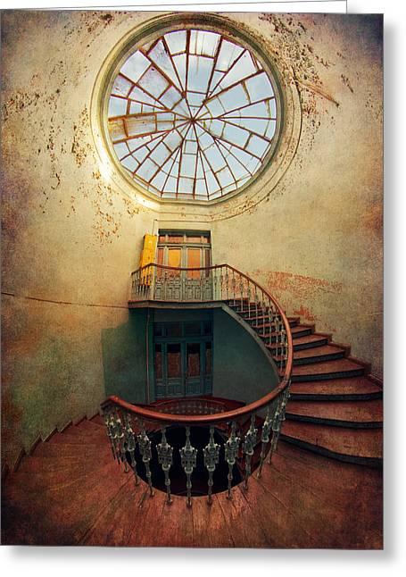 Spiral Staircase And Big Round Window Greeting Card by Jaroslaw Blaminsky