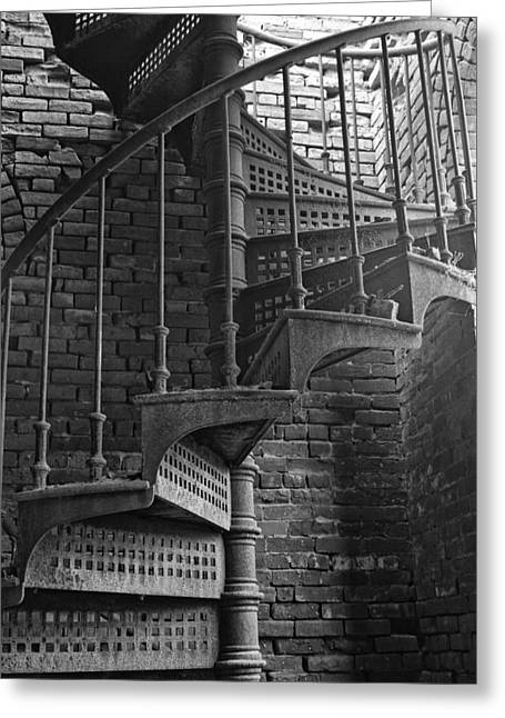 Spiral Staircase In B And W Greeting Card